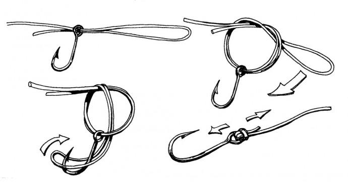 Вязание рыболовного крючка узлы 33